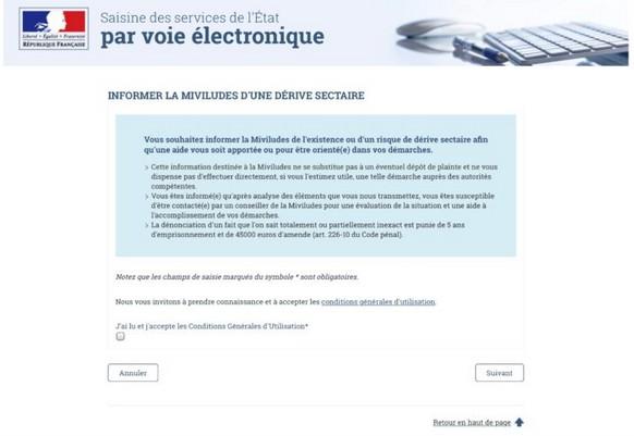"""Vous voulez être un informateur ? Formulaire web de la MIVILUDES pour signaler les """"dérives sectaires""""."""