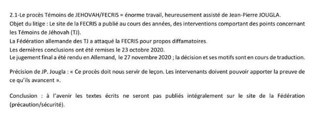 Point 2.1 du rapport de l'assemblée générale de la FECRIS du 27/11/2000.